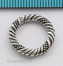 1x OXIDIZED STERLING SILVER TWIST ROUND JUMP RING LINK CONNECTOR 16.7mm #1409