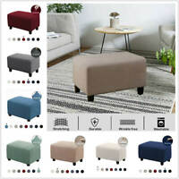 1x Solid Stretch Ottoman Slipcover Sofa Footstool Cover Storage Protector