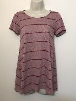 Peyton Jensen Evereve Small Tunic Shirt Maroon Pink Short Sleeve Relaxed Fit Top