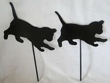 Garden Design Upright Black Playing Cats, Steel Pick Silhouettes by Kinsman-NEW