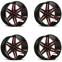 "Set 4 22"" Vision 363 Razor 22x10 Black Milled Spoke w/ Red Tint 6x135 Rims -19mm"