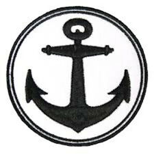 Anchor Hot Leathers Circle Black Badge Embroidered Patch Sew/Iron on 9cm