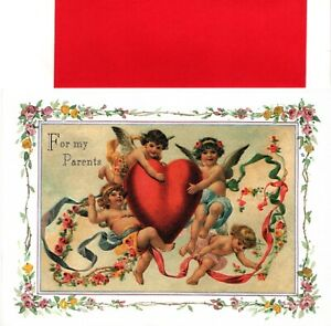 Happy Valentine's Day Parents Angel Angels & Hearts Heart Theme Greeting Card