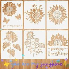 6 Pieces Sunflower Stencil Kit You are My Sunshine Stencil Butterfly Reusable My