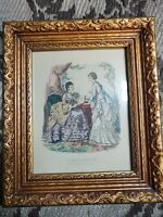 "Hand-Colored Antique Engraving ""La Mode Illustree"" signed by Adele-Anais..."