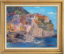 MANAROLA, CINQUE TERRE~ITALY~LISTED ARTIST~ORIGINAL OIL PAINTING MARC FORESTIER