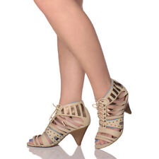 Women's Synthetic Leather Cuban Mid Heel (1.5-3 in.) Sandals & Beach Shoes