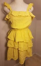Moda International Victoria's Secret Sz S Women's Sun dress Ruffles Yellow Beach