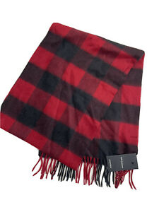 Nordstrom Mens Red Rio Buffalo Check Fringe 100% Cashmere Scarf
