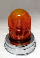 Vintage CATS-EYE NO.10 Amber Glass Emergency Light Lens Beacon w/ Chrome Base