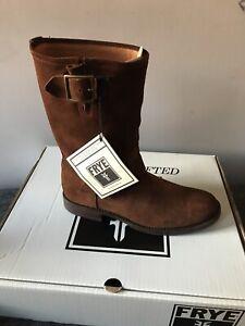 Frye Natalie Mid Engineer Brown Oiled Suede Boots SZ 8