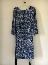 H&M BLUE WHITE GREEN BLACK FLORAL TUNIC DRESS SUMMER WEDDING FORMAL SIZE 10