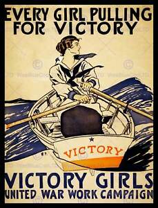 VICTORY GIRLS WAR WORK CAMPAIGN PULLING BOAT ROWING NEW ART PRINT POSTER CC5613