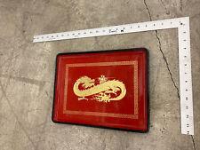 Vintage Otagiri Japan Red Gold Lacquerware Dragon Serving Tray