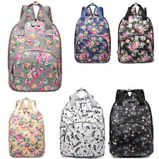 Matt Oilcloth Floral Ladies Girls School Backpack Shoulder Laptop Bag Travel
