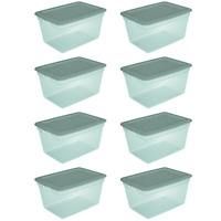8 Pack Storage Tote Bin Box Aqua Slate Plastic Stackable Container w/ Lid 58 Qt