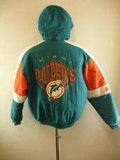Mens sz M Miami Dolphins Vtg Nutmeg NFL Insulated Parka Coat Jacket Embroidered