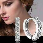 Earrings Hoop Stud Silver Jewellery Sterling Crystal 925 Ladies Gift Uk