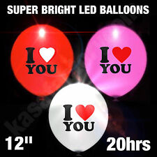 """LED BALLOONS I LOVE YOU 12"""" SUPER BRIGHT WEDDINGS ANNIVERSARY PARTY VALENTINE"""