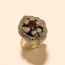 Sterling Silver Wedding Turkish Fine Jewelry Natural Burmese Red Ruby Ring 925