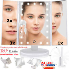 24 LED Touch Screen Makeup Mirror Tabletop Lighted Cosmetic Vanity Illuminated