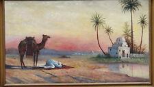 ANTIQUE ISLAMIC ORIGINAL OIL PAINTING OF ARABIC PRAYING MAN W/ CAMEL,SIGNED