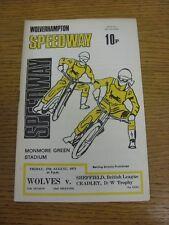 Programa 27/08/1971 Speedway: Wolverhampton V Sheffield & Cradley [Dudley/Wolve