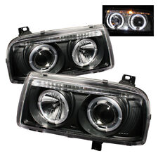Volkswagen 93-98 Jetta Black Dual Halo LED Projector Headlights Lamp Gl GLS TDI