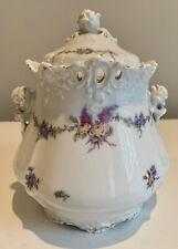Beautiful Antique Hermann Ohme Eglantine Pierced Biscuit Jar and Lid, Germany