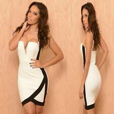 Sz 8 10 Sleeveless Black White Bodycon Club Prom Cocktail Party Mini Dress