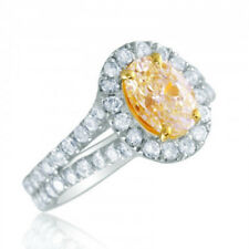 Fancy Yellow 2.70 Carat Oval cut Diamond Ring Round Shape GIA Certified 18k Gold