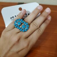 Crazy Train Faux Turquoise Blossom Ring Fashion Jewelry Western Cowgirl