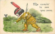 Artist Impression Circa 1910 Wall Indian Bear Postcard 5228