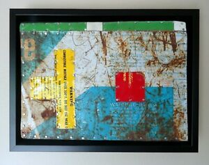 """Jeff Brown artwork found objects assemblage collage original unique """"Red Square"""""""