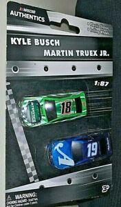 NASCAR AUTHENTICS 2019 1/87 #18 KYLE BUSCH & # 19 MARTIN TRUEX JR. 2 CAR SET HTF