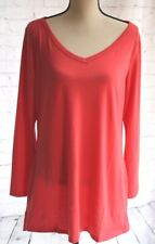 *NWT* ALLEGRA K Women's Tunic Top V-Neck Long Sleeve Pockets Coral Size Large