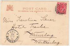 EDVII Postcard: 'Parliament Street': London-Weinsberg, Germany, 12-14 Aug 1902