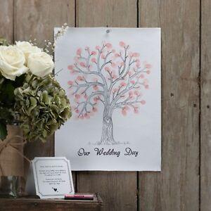 Fingerabdruck Hochzeitsbaum 'Weddingtree' Wedding Tree Hochzeit A3 - rosa / pink
