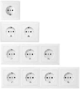 230V Schuko Steckdose Schutzkontakt Unterputz Rahmen Komplett Weiß  2, 3, 4-fach
