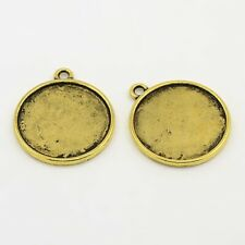 2 Cabochon Settings Frame Pendants Flat Back Circle Blanks Antiqued Gold