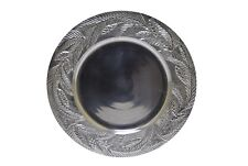 """Silver Plate Charger Embossed with Palm Leaves 15.5"""""""