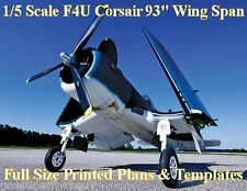 "F4U Corsair 1/5th Scale 93"" Folding WS RC Airplane PRINTED Plans & Templates"