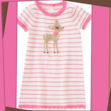 NWT 3T Gymboree FAIRY TALE FOREST DEER FAWN Cotton Sweater DRESS Stripe PINK