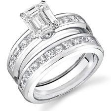 4.00 Ct Emerald Cut Diamond Engagement Set E,VVS2 GIA Platinum