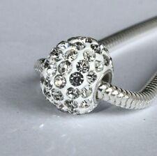 Large rondelle - Austrian crystal pavé & 925 sterling silver European charm bead