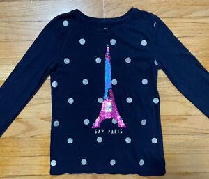 Gap Kids Girls Parish Eiffle Tower Navy Polka Dot Shirt Size Medium 8-9 Years