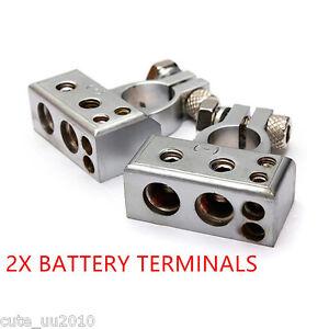 Chrome #1 1/0 2 4 8 Gauge AWG Car Silver Battery Terminal Positive Negative Set
