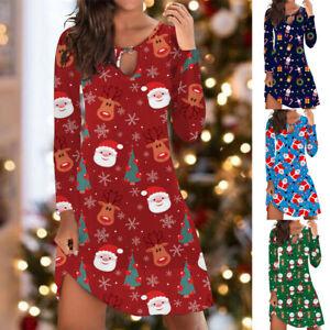 UK Womens Ladies Printed Basic Elk Christmas Party Loose Xmas Tunic Mini Dress