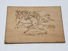 Antique Flemish Art Wood Burning Pyrography Plate Folk Art US Mail Horse Post