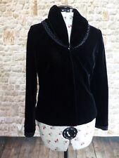 Kaliko Black Velvet feel Beaded Jacket UK 8 Detachable Faux Fur Collar Steampunk